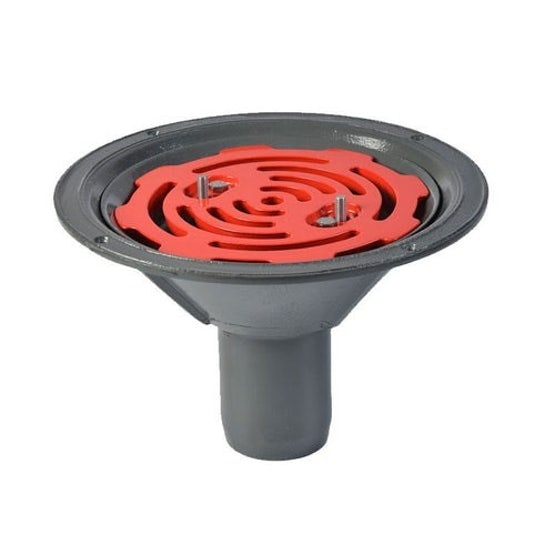 aco rainwater roof outlet vertical spigot with flat grate
