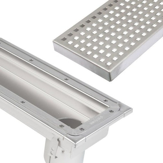 blucher stainless steel commercial linear channel drain with end outlet sheet floor
