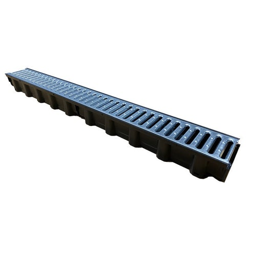 DCD 1M GS M Channel Drainage Domestic with Galvanised Grate 1m   Dek Drain S