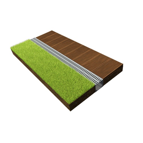 dekdrain deco threshold 914mm plastic channel drain and grey grate a15 lifestyle