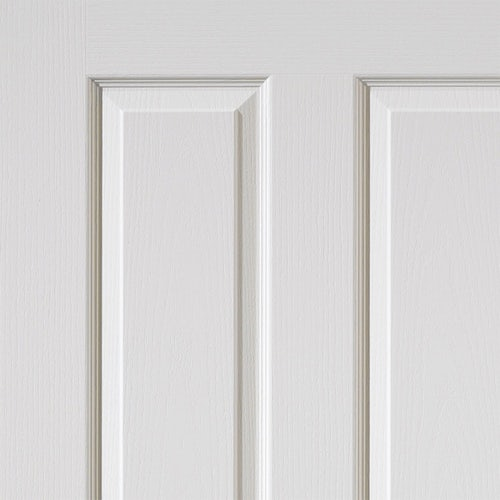 jb kind canterbury grained white primed panelled door close up