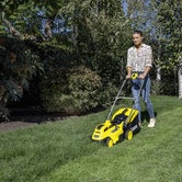 Karcher Battery Powered Lawn Mower 18 36 Set with Battery Lifestyle 2