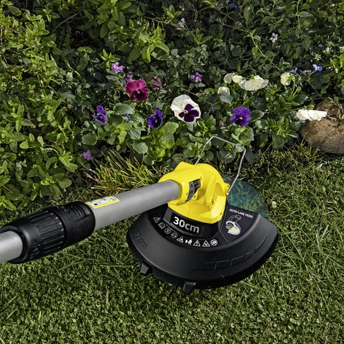 Karcher Battery Powered Lawn Trimmer 18 30 Set with Battery Lifestyle 2