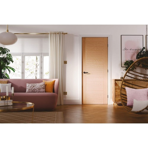 lpd vancouver 5 panel pre finished oak door living room lifestyle
