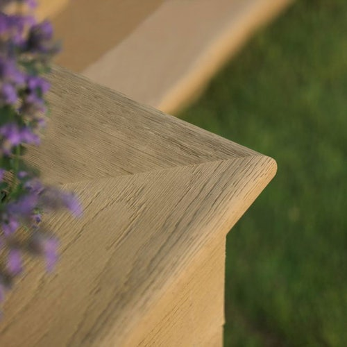 millboard golden oak enhanced grain corner close up