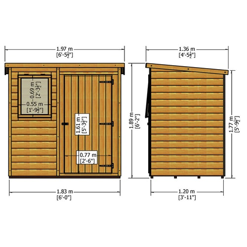 shire 6ft x 4ft shiplap pent shed dimensions