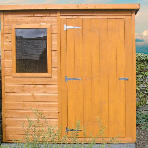 shire 6ft x 4ft shiplap pent shed lifestyle front