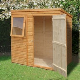 shire 6ft x 4ft shiplap pent shed lifestyle open door