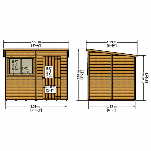 shire 8ft x 6ft pent shiplap shed dimensions