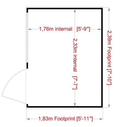 shire 8ft x 6ft pent shiplap shed floor plan