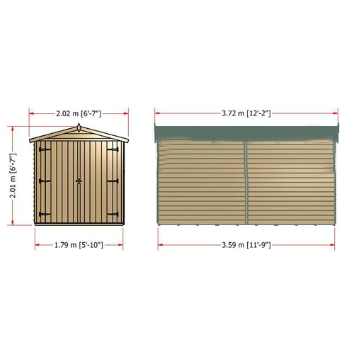 shire overlap apex shed 12ft 6ft12