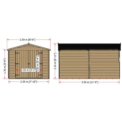 shire overlap apex shed 12ft 8ft 12