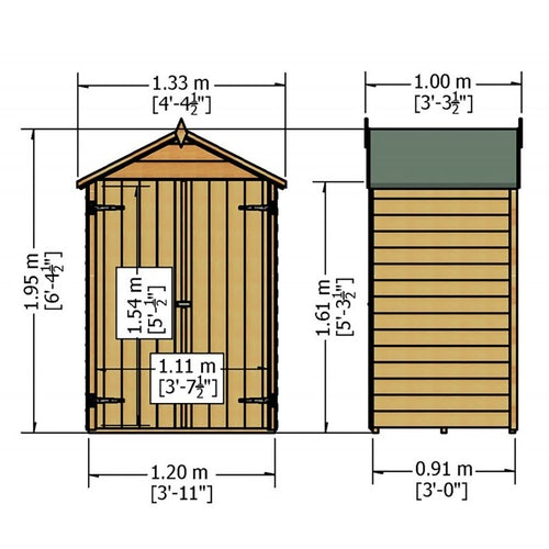 shire overlap apex shed 4ft x 3ft 9