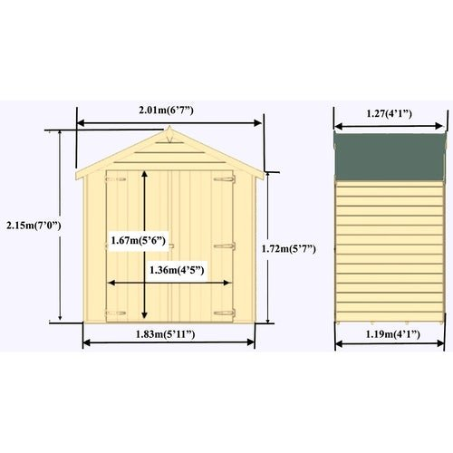 shire overlap apex shed 4ft x 6ft 1830mm x 1190mm12