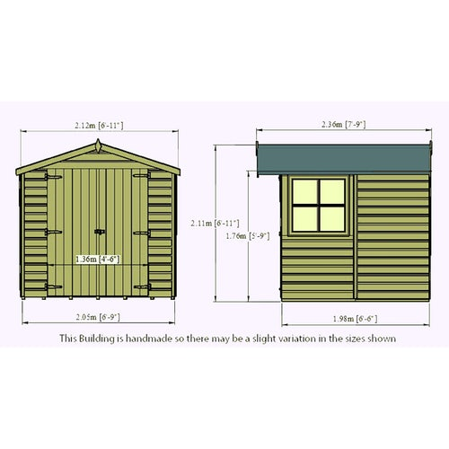 shire pressure treated overlap apex shed 7ft x 7ft 8