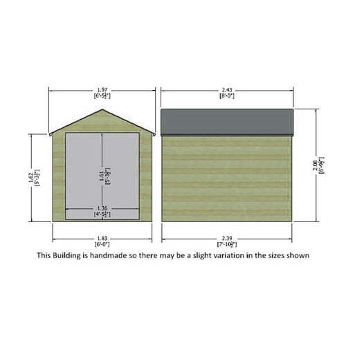 shire pressure treated overlap apex shed 8ft x 6ft 8