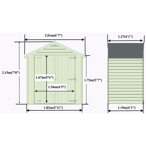 shire pressure treted overlap shed 4ft x 6ft 6