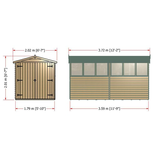 shire window overlap apex shed 12ft 6ft 8