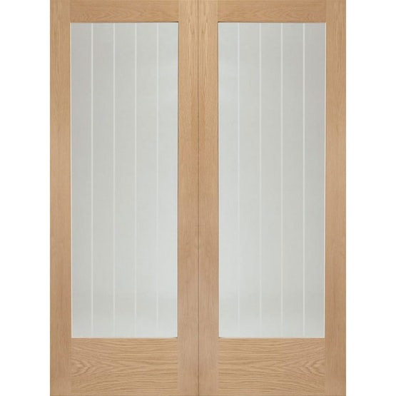 xl joinery internal oak suffolk clear etched glazed cottage door pair