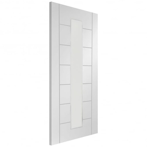 xl joinery palermo white primed clear 1 glazed internal door angled