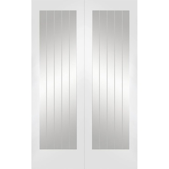 xl joinery suffolk white primed clear glazed door pair