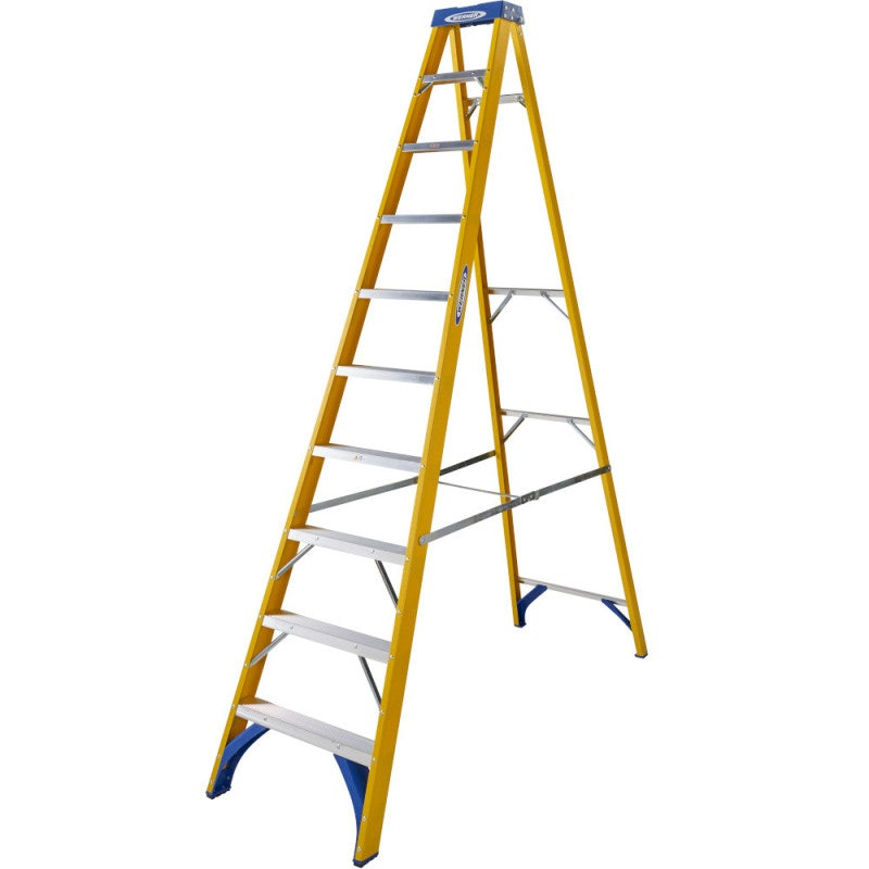 Werner 10 Tread Trade Fibreglass Step Ladder - BS 2037 EN131 Professional