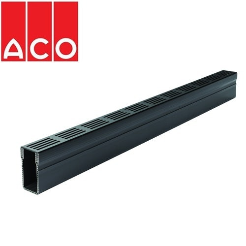 ACO Threshold 1000mm A15 Plastic Channel Drain & Black Grate