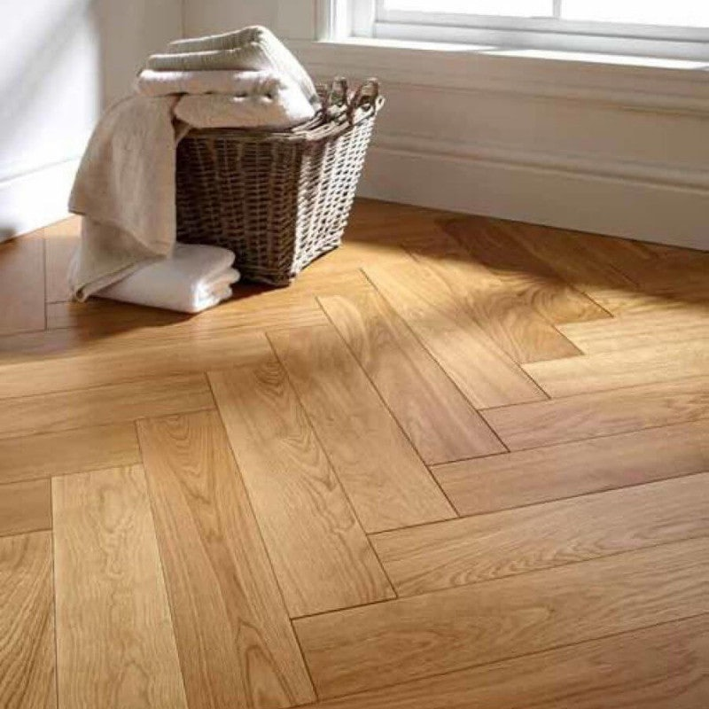 Atkinson & Kirby Parquet Engineered Oak Flooring Herringbone Harrow Lacquer