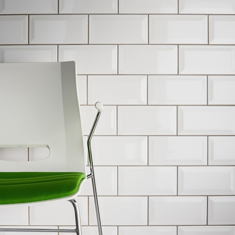 Johnson Tiles Bevel Brick White Gloss Glazed Ceramic Wall Tile