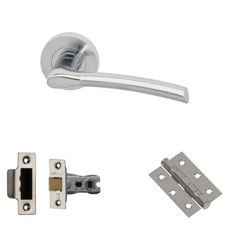 XL Joinery Drava Polished/Satin Chrome Latch Door Handle Pack
