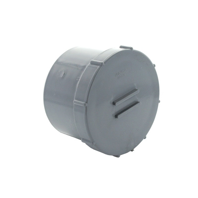 Hunter 110mm Soil Pipe Access Cap Spigot Tail - Grey
