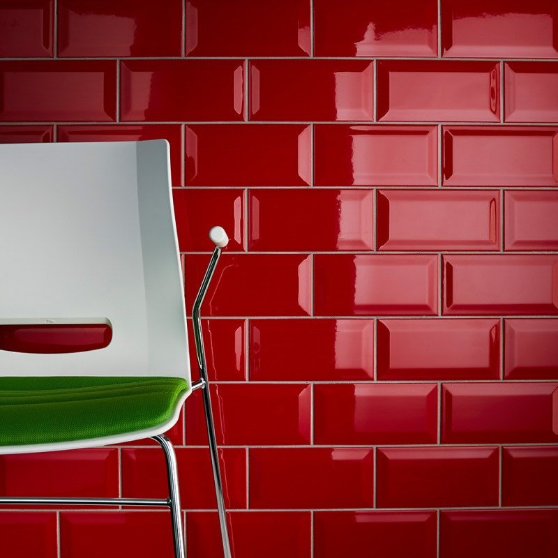 Johnson Tiles Bevel Brick Red Gloss Glazed Ceramic Wall Tile