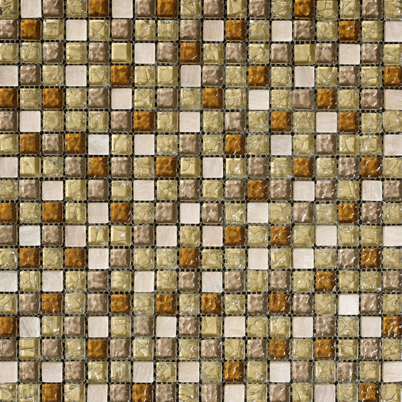 Johnson Tiles Jewelstone Bronze Mix Glass and Natural Stone Wall Tile
