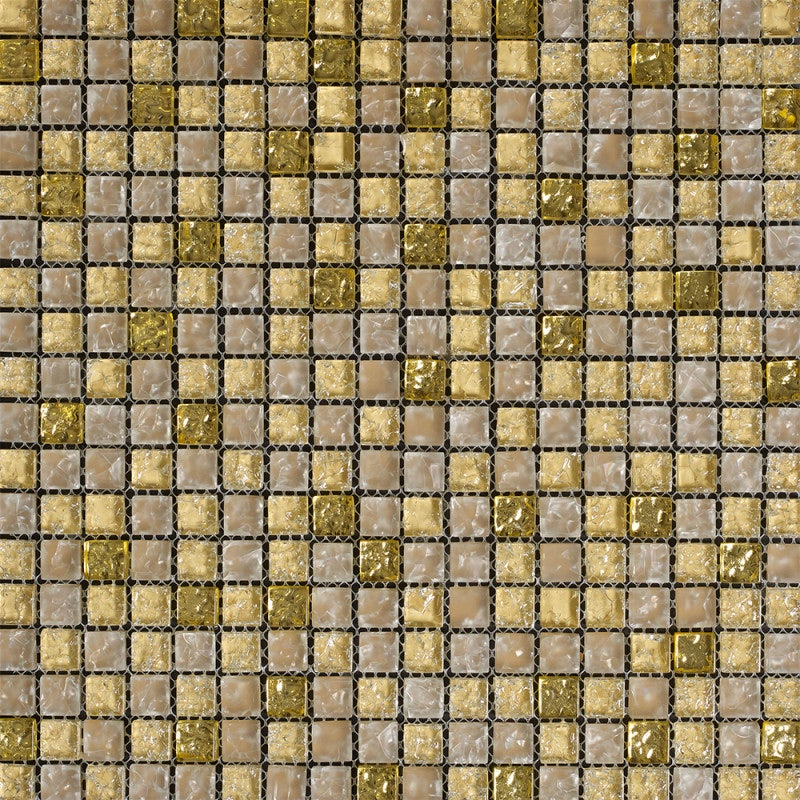 Johnson Tiles Jewelstone Gold Mix Glass and Natural Stone Wall Tile
