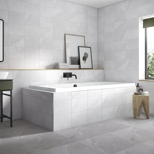 Johnson Tiles Melford Marble Dark Grey Satin Glazed Ceramic Wall Tile