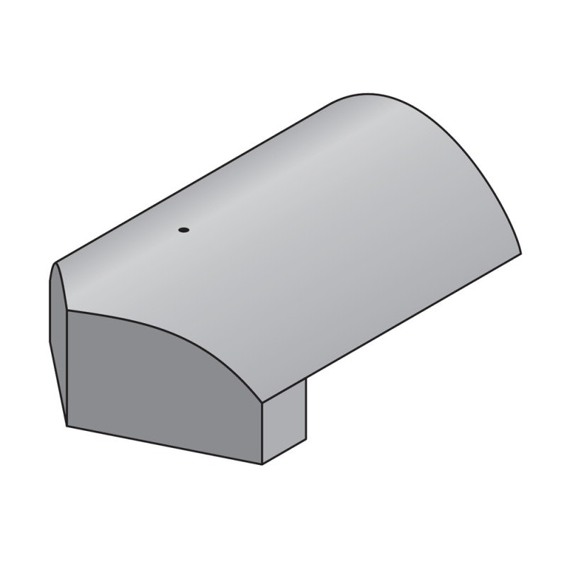 Marley Concrete Third Round Stop End Hip Tile