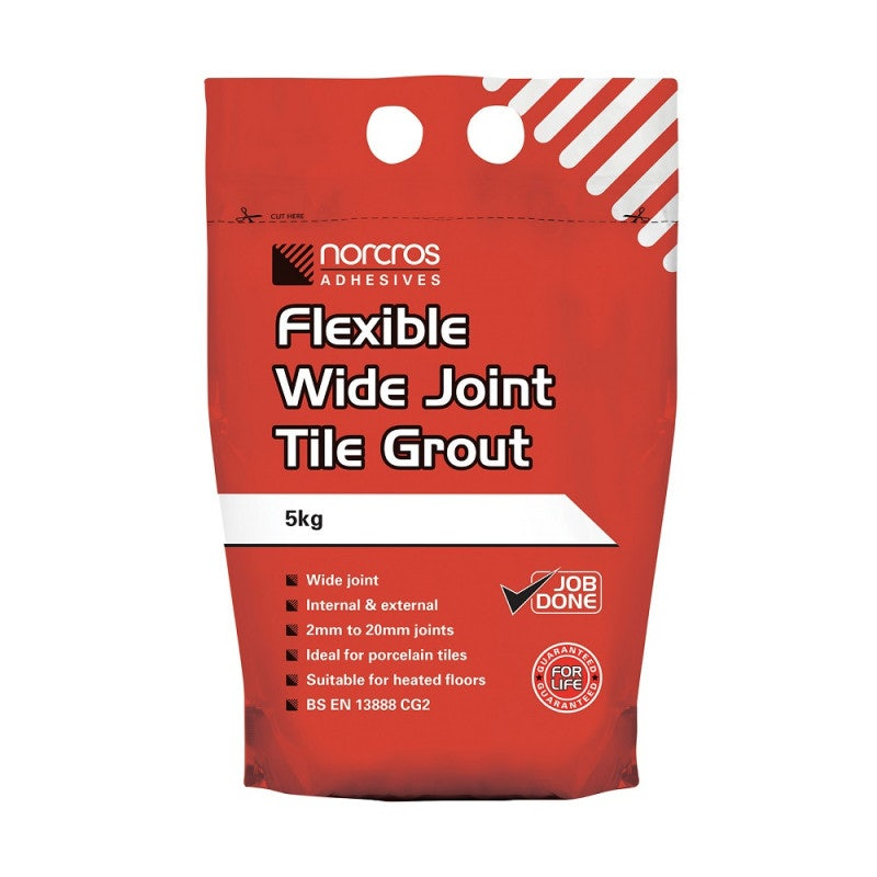 Norcros Adhesives Flexible Wide Joint Slate Grey Tile Grout - 5KG