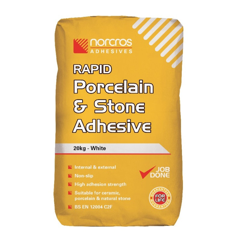 Norcros Adhesives Rapid White Porcelain & Stone Adhesive - 20KG