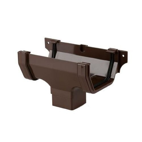Plastic Guttering Square Style Running Outlet 114mm - Brown