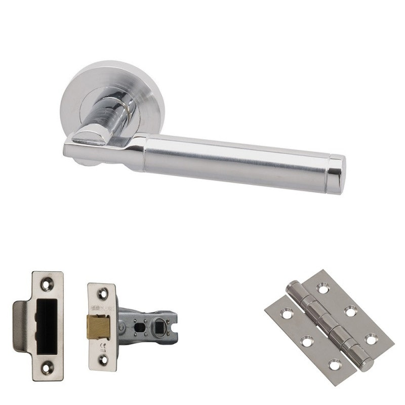 XL Joinery Tiber Polished/Satin Chrome Latch Door Handle Pack