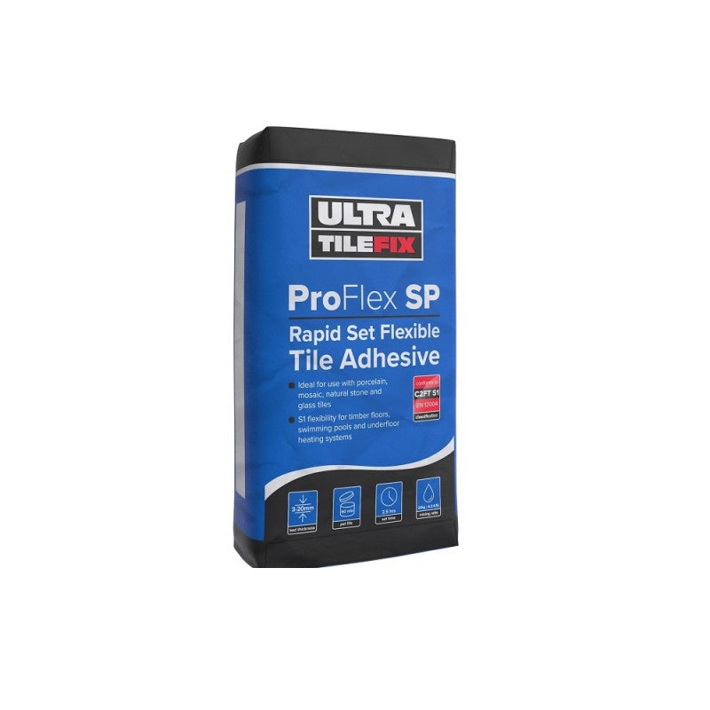 UltraTileFix ProFlex SP Rapid Set Flexible Grey Tile Adhesive - 20KG