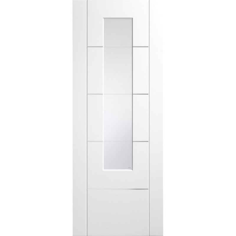 XL Joinery Internal White Primed Portici Pre-Finished Clear Etched Glazed Door