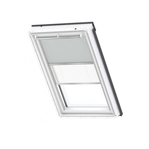 VELUX Duo Blackout Blind in Light Grey/White