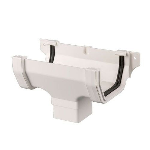 Plastic Guttering Square Style Running Outlet 114mm - White