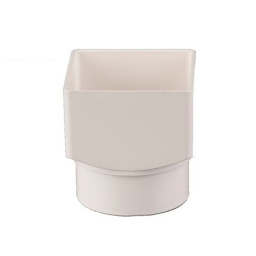 Plastic Guttering Square To Round Downpipe Adaptor 65mm - White