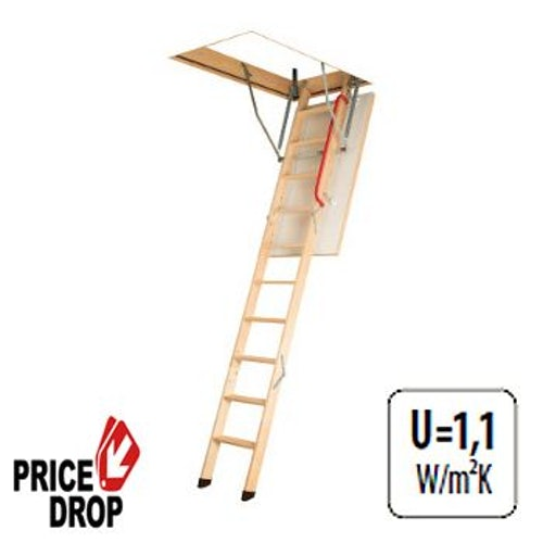 Fakro Komfort 3 Section Wooden Loft Ladder 2.8m Length - 55cm x 111cm