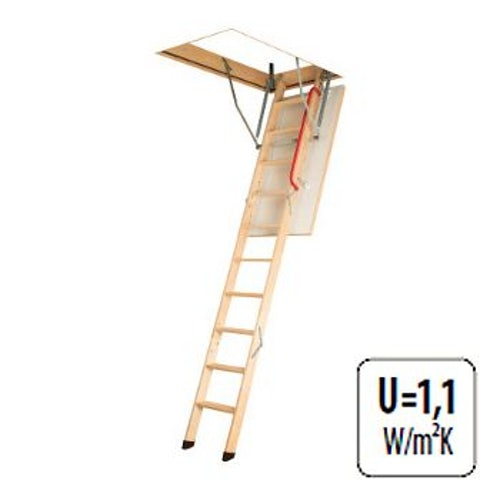 Fakro Komfort 3 Section Wooden Loft Ladder 2.8m Length - 70cm x 140cm