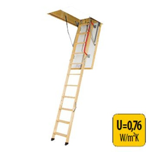 Fakro Thermo 3 Section Wooden Loft Ladder 2.8m Length - 70cm x 140cm