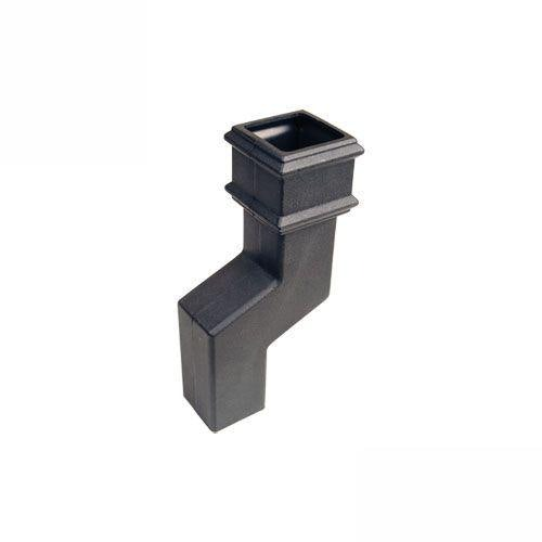 Cascade Cast Iron Style Square Downpipe 115mm Offset Bend - Black