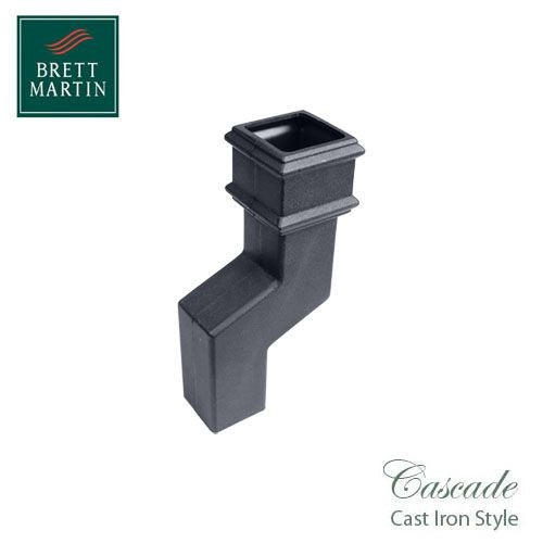Cascade Cast Iron Style Square Downpipe 115mm Offset Bend - Grey